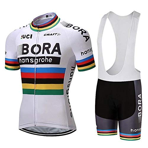 Pro Team Bora Cycling Jersey Team Uniform Classic White Jersey and Shorts Set Gel Padded and Breathable Cycling Suit ()