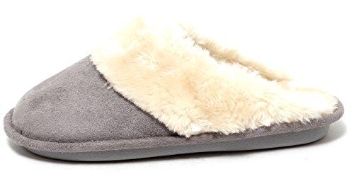 Damen Luxus Hausschuhe Slipper mit Kunstfell GREY Gr. 37 - 41
