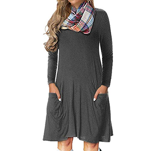 Clearance Forthery Women's Plus Size Plaid Loose T Shirt Swing Mini Dress with Pocket(Grey, Large)
