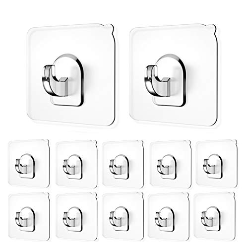 Adhesive Hooks(13.2lb/6kg) Sticky Wall Hooks Transparent Plastic Reusable Heavy Duty Hook for Kitchen Bathroom Office No Trace No Scratch Waterproof and Oilproof (12 Pack)