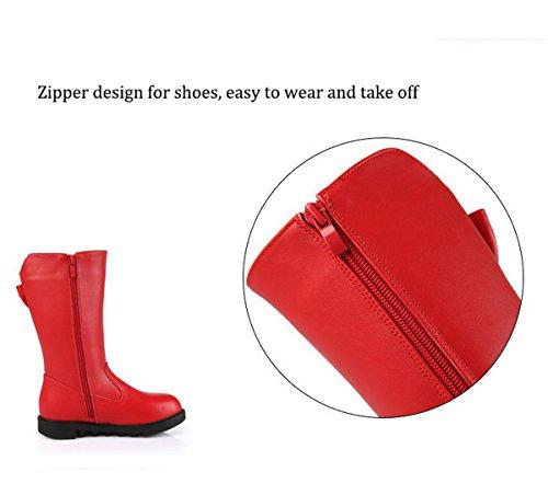 Filles 33 Hiver Chaussures Enfant PU Rouge Cuir en Boots Fille Ahatech Bottes P4dqww