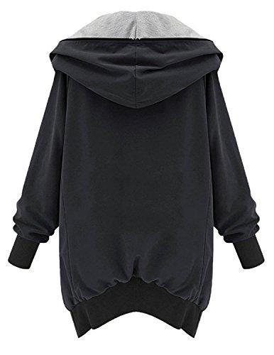 Jumper Queen Coat Baggy Manteaux pais Casual Fermeture Capuche Noir Jacket Blouson Veste M clair Femmes wqxzUXzd