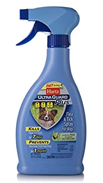 Hartz UltraGuard Plus Spray kills and repels fleas and ticks for up to 7 days plus kills and prevents flea eggs from hatching for up to 30 days. For use on puppies 12 weeks of age or older.