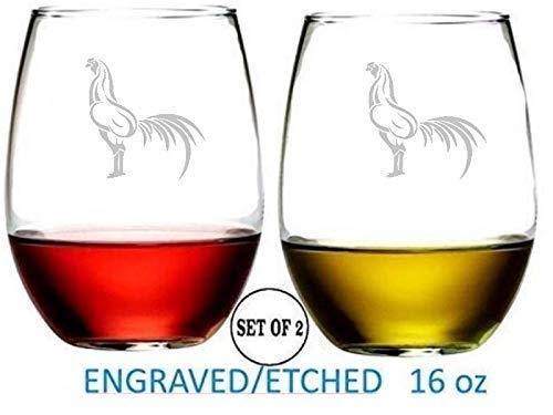 Glass Red Rooster - Cock Fight Rooster Stemless Wine Glasses Etched Engraved Perfect Fun Handmade Gifts for Everyone Set of 2
