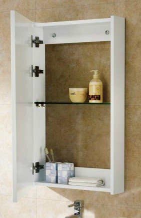 Bathroom Medicine Cabinet, Mirrored - Surface Mount, Wood, White by Premium Furniture