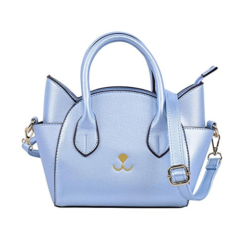 Purse bag GINELO Women's Cute Boxy Bag Blue Handbag Crossbody Suede Handle Fashion Top Cat Shoulder vwZBqg