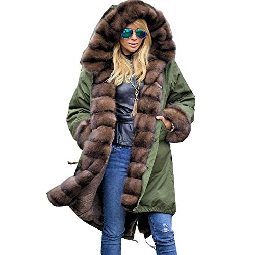 Bolayu Womens Faux Fur Winter Jacket Parka Hooded Coat Long Sleeves Overcoat (XXL, Army Green)