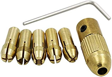 DRILAX 7 pieces Set 0.5mm 1mm 1.5mm 2.5mm 3mm Mini Drill Bit Collet Chuck System Set Allen Wrench Included