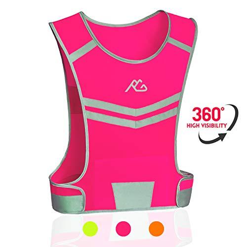 GoxRunx Reflective Running Vest Gear Ultralight & Comfortable Cycling Motorcycle Reflective Vest-Large Zippered Inside Pocket & Adjustable Waist- High Visibility Night Running Safety Vest (Pink, M)