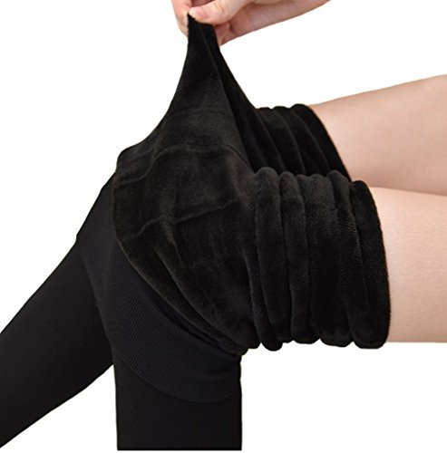 Warm Winter Tights (Romastory Women's Winter Warm Fleece Lined Tights High Waisted Elastic Leggings Pants (Black),Free Size Fits ( US S/M ))