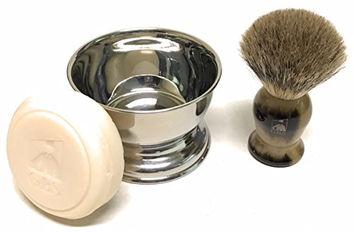GBS Men's Shaving Starter Kit - Pure Badger Shaving Brush with Horn Handle, Stainless Steel Soap Cup + GBS Soap Compliments and Razor shavette, Double Edge or 5 Blade - Includes Gift Box