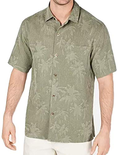 Tommy Bahama Digital Palms Silk Camp Shirt (Color: Tea Leaf, Size XL)