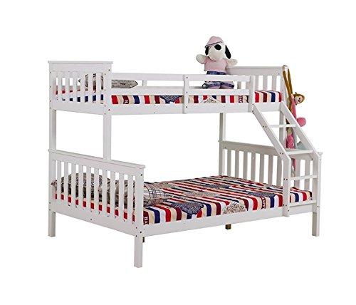 Yakoe Solid Pine Triple Sleeper Bunk Bed, Wood, White, Double