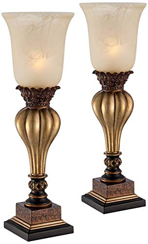 Sattley Alabaster Glass Gold Console Lamp Set of 2 - Regency Hill ()