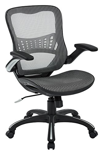 2 Seat Arm Chair (Office Star Mesh Back & Seat, 2-to-1 Synchro & Lumbar Support Managers Chair, Grey)