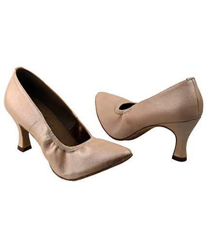 Veldig Fine Ballroom Latin Tango Salsa Dans Sko For Kvinner S9107 2,5-tommers Hæl + Sammenleggbar Børste Bunt Lys Tan-lys Skinn