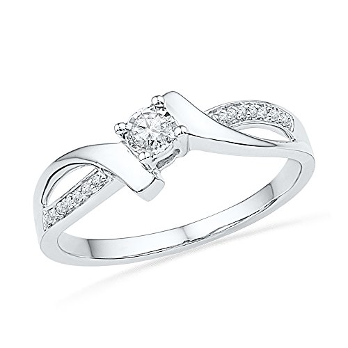 Size 8.5-10k White Gold Round Diamond Solitaire Promise Bridal Ring (1/10 Cttw)