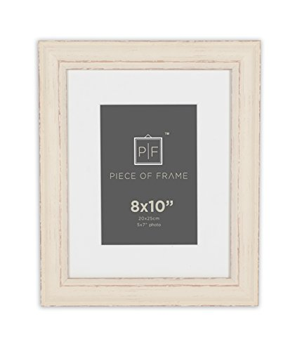 Cream Color Frame - Golden State Art 8x10 Shabby Chic Distressed Wood Pattern Style Cream Color Photo Frame, For Wall Hanging or Table Top, with Ivory Mat for 5x7 Picture & Real Glass