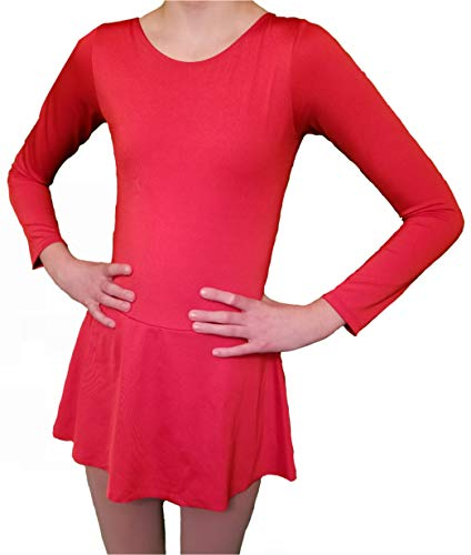 Ice Figure Skating Dance Practice Dress Girls (Red, 10)