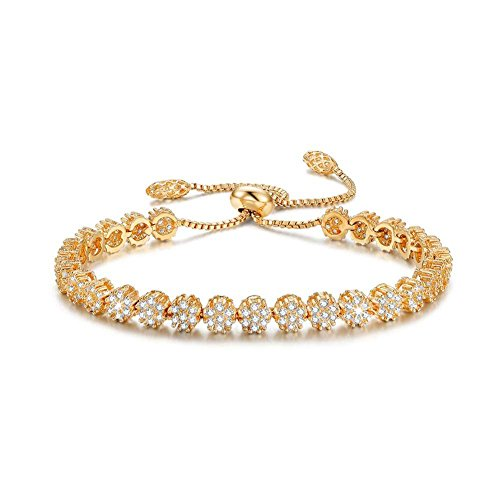 SPILOVE Serend Luxury Gold Plated Adjustable Bracelet with Sparkling White Cubic Zirconia Stone for Women Girls