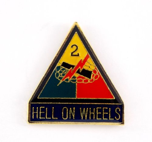 US Army 2nd Armored Division Hell On Wheels Lapel Hat Pin Gift Military ()