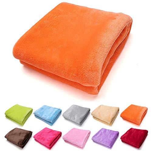 SeaHome 3 Type Coral Throw Blanket - Fuzzy Twin Fleece Blanket Office Air Conditioning Blanket,Toddler Soft Cozy Blanket Lightweight (Orange, 50 x 70 cm (19.7