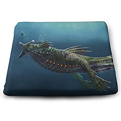 Subnautica Square Cushion Thick Large Soft Mat Floor Pillow Seating for Home Decor Garden Party for Chair Pads 15x13.7x1.2Inch: Office Products