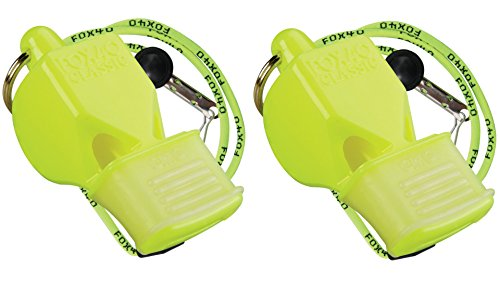 Fox 40 Classic CMG Whistle with Breakaway Lanyard (115 db (2 Pack With Lanyards), Neon)