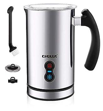 CHULUX Espumador de leche eléctrico, calentador y calefacción de 3 en 1 con cuatro varillas