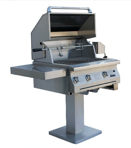 Solaire 30-Inch InfraVection Natural Gas Bolt-Down Post Grill with Rotisserie Kit, Stainless - 30 Inch Solaire Natural Infravection