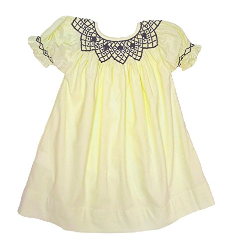 Sassy Smock Classic Smocked Ivory Corduroy Bishop Dress With Navy Trim -