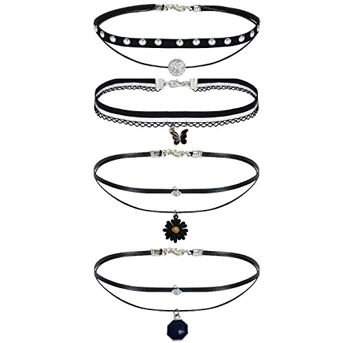 BodyJ4You 4 Pcs Women's Black Velvet Choker Collar Necklace with Charms (Butterfly Charm Pave)