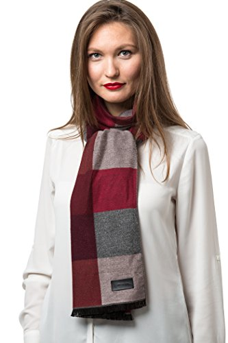 Mio Marino Winter Cashmere Feel Women Scarf, 100% Cotton Fashion Scarves, In Elegant Gift Box - Plaids