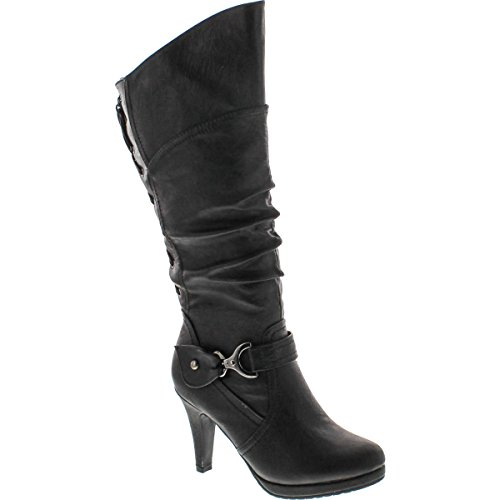 TOP Moda Womens Page-65 Knee High Round Toe Lace-Up Slouched High Heel Boots,Black,6.5