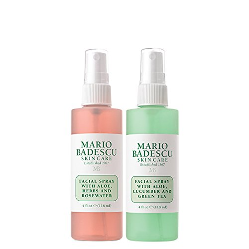 Mario Badescu Facial Spray with Rosewater & Facial Spray with Green Tea Duo, 4 Fl Oz (Pack of 2) by Mario Badescu