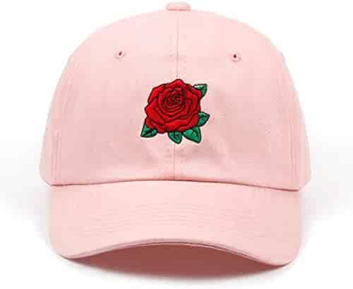 28a0ef414c4 Rose Embroidered Dad Hat Women Men Cute Adjustable Cotton Floral Baseball  Cap