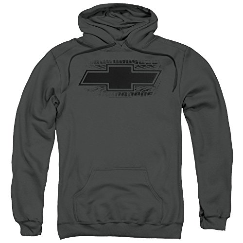 Trevco Chevrolet/Bowtie Burnout-Adult Pull-Over Hoodie-Charcoal-LG