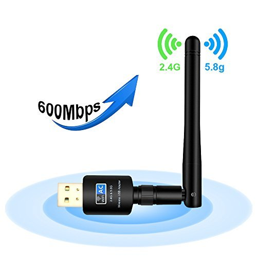 USB WiFi Adapter with 5dBi Antenna, 600Mbps Dual Band (2.4G/150Mbps+5G/433Mbps) Wireless Network Card Adapter for Desktop Laptop PC Windows 2000/XP/Vista/7/8/10, Ubuntu Linux 2.4/2.6,MAC OS 10.4-10.12 by Fancy Room