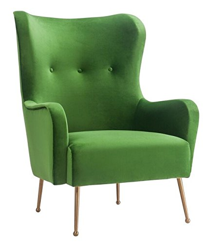 TOV Furniture The Ethan Collection Mid-Century Modern Style Velvet Upholstered Wingback Living Room Salon Chair, Green