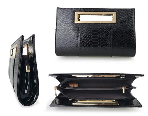 Hoxis Classic Crocodile Pattern Faux Patent Leather Metal Grip Cut it out Clutch with Shoulder Strap Womens Handbag(Black) by Hoxis (Image #3)