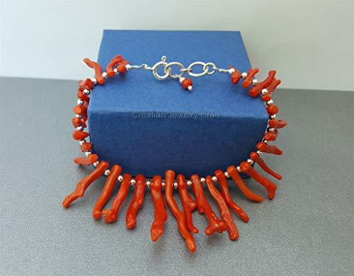 - Unique Red Coral Branch Bracelet, Precious Mediterranean Coral Bracelet, Sterling Statement Bracelet, Bib Bracelet *Exp Shipping