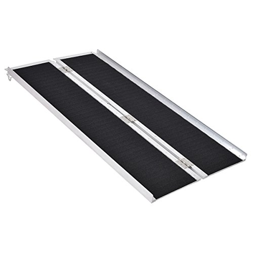 (Goplus® Multi-Fold Aluminum 5' Non-Skid Wheelchair Ramp Mobility Scooter Mobility Ramp (5' x 30))