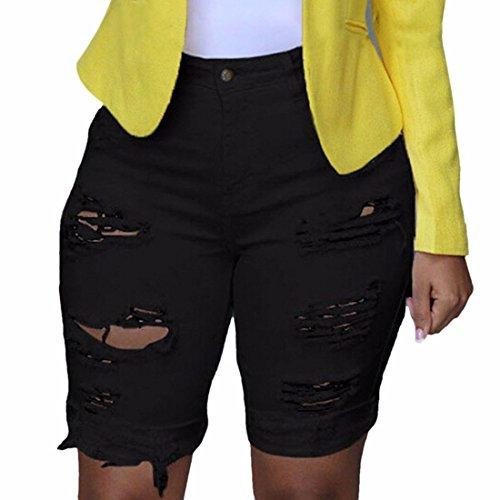 cintura rodilla Detresse cortos baja longitud negra mujer media cortas Corta hasta con para la Jeans Aguas wTxfT1