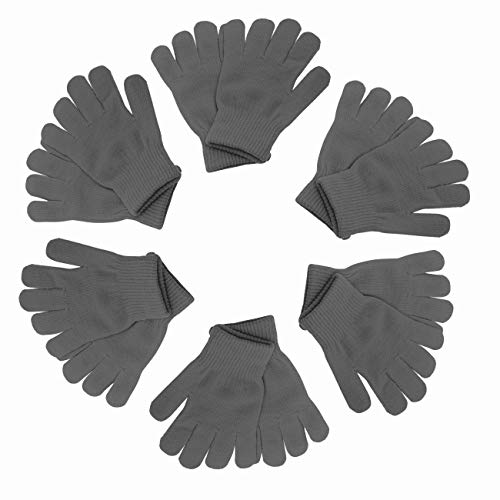 Winter Gloves Magic Gloves Wholesale 12 Pairs- One Size Fits All (Dark Gray)