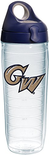 Tervis 1230753 George Washington Colonials Logo Insulated Tumbler with Emblem and Navy with Gray Lid, 24oz Water Bottle, Clear