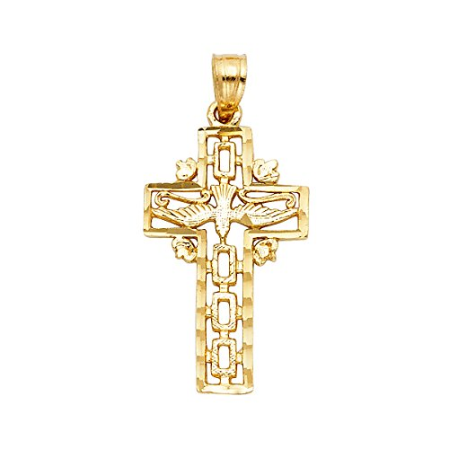 - 14k Yellow Gold Religious Cross with Holy Spirit Dove Pendant - Height 25 MM Width 11 MM
