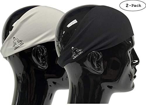 (Value 2-Pack, Mens Headband - Guys Sweatband & Sports Headbands Moisture Wicking Workout Sweatbands for Running, Crossfit, Skiing and bike helmet friendly - Value Pack 1-Black & 1-Gray)