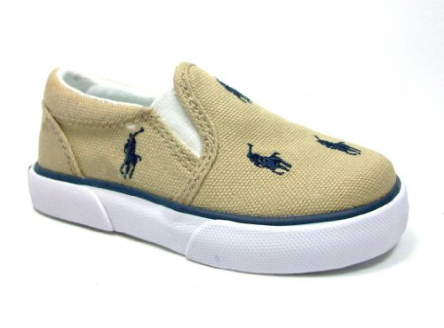 New Ralph Lauren Khaki (New Ralph Lauren Polo Toddler Kids Bal Harbour Khaki/Navy Slip on Canvas Shoes)