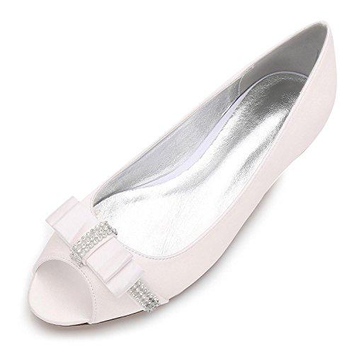 13 Low Dedo yc Piedras Satin 5049 Mujer Toe Ivory court Redondo Boda Shoes Heel L Para Prom Size Pie Peep Del dOXcq68Ywp