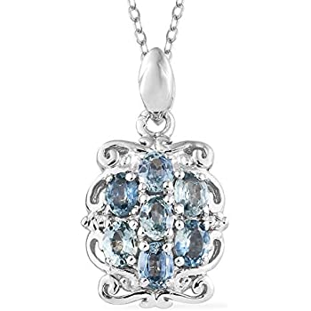 c0241c66de4c 925 Sterling Silver Platinum Plated Oval Sapphire Pendant Necklace for Women  and Girls 20